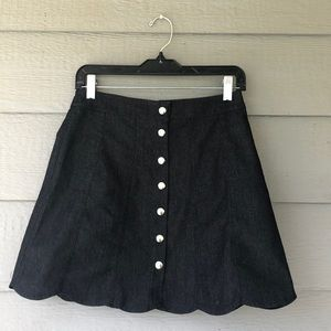 Scalloped Bottom Denim Skirt.